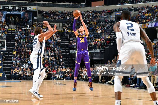 Mike Muscala of the Los Angeles Lakers shoots the ball against the Memphis Grizzlies on February 25 2019 at FedExForum in Memphis Tennessee NOTE TO...