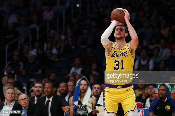 Mike Muscala of the Los Angeles Lakers shoots the ball against the Golden State Warriors during the second half at Staples Center on April 04 2019 in...