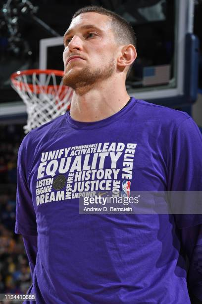 Mike Muscala of the Los Angeles Lakers stands for the national anthem before the game against the Los Angeles Lakers on February 10 2019 at the Wells...