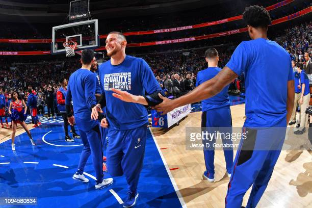 Mike Muscala of the Philadelphia 76ers is introduced before the game against the Toronto Raptors on February 5 2019 at the Wells Fargo Center in...