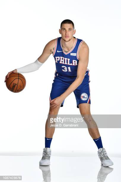 Mike Muscala of the Philadelphia 76ers poses for a portrait at the Wells Fargo Center in Philadelphia Pennsylvania on September 21 2018 NOTE TO USER...