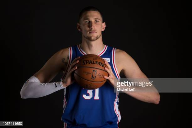 Mike Muscala of the Philadelphia 76ers poses for a portrait during Media Day at the Sixers Training Complex on September 21 2018 in Camden New Jersey...