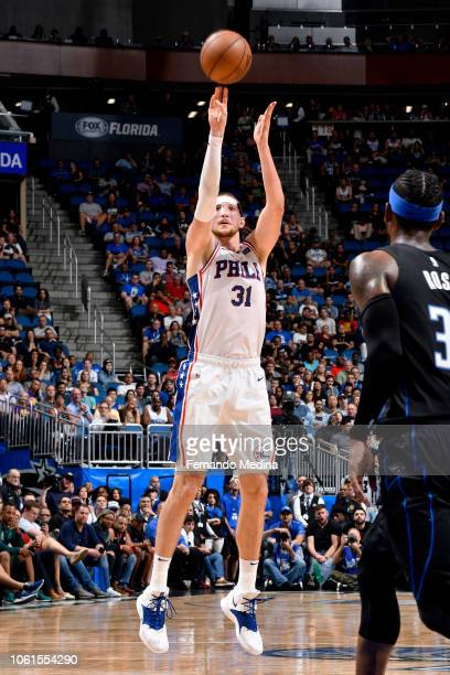 Mike Muscala of the Philadelphia 76ers shoots the ball against the Orlando Magic on November 14 2018 at Amway Center in Orlando Florida NOTE TO USER...