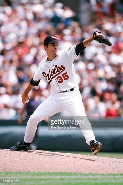 Mike Mussina of the Baltimore Orioles during the game against the Minnesota Twins on May 2 1998 at Oriole Park at Camden Yards in Baltimore Maryland