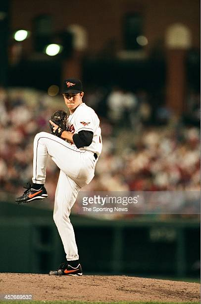 Mike Mussina of the Baltimore Orioles pitches against the New York Yankees during a game at Oriole Park at Camden Yards on July 11 1996 in Baltimore...