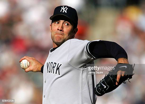 Mike Mussina of the New York Yankees pitches against the Baltimore Orioles on April 16 2005 at Camden Yards in Baltimore Maryland