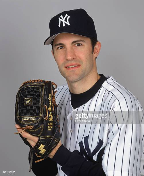 Mike Mussina of the New York Yankees poses for a portrait during the Yankees Media Day at Legends Field on February 21 2003 in Tampa Florida