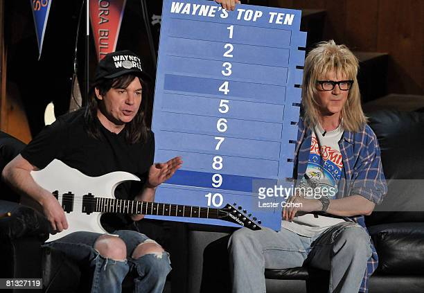 Mike Myers and Dana Carvey in Waynes World sketch during the 2008 MTV Movie Awards on June 1 2008 at the Gibson Amphitheatre in Universal City...