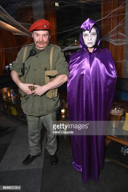 Mike Myers and Kelly Tisdale attend Heidi Klum's 18th Annual Halloween Party presented by Party City and SVEDKA Vodka at Magic Hour Rooftop Bar...