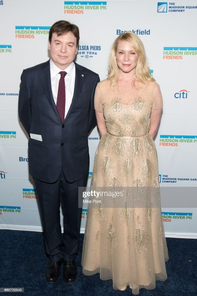 Mike Myers and Kelly Tisdale attend the 2017 Hudson River Park Annual Gala at Hudson River Park's Pier 62 on October 12, 2017 in New York City.