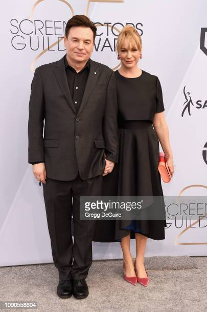Mike Myers and Kelly Tisdale attend the 25th Annual Screen ActorsGuild Awards at The Shrine Auditorium on January 27 2019 in Los Angeles California...