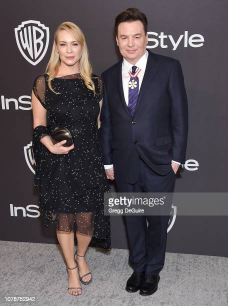 Mike Myers and Kelly Tisdale attend the InStyle And Warner Bros Golden Globes After Party 2019 at The Beverly Hilton Hotel on January 6 2019 in...