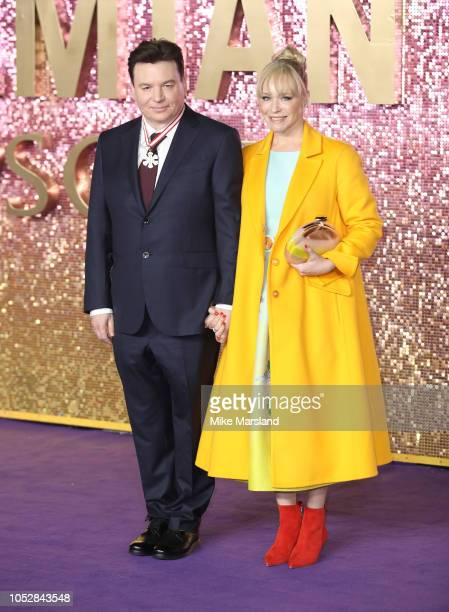 Mike Myers and Kelly Tisdale attend the World Premiere of 'Bohemian Rhapsody' at The SSE Arena Wembley on October 23 2018 in London England