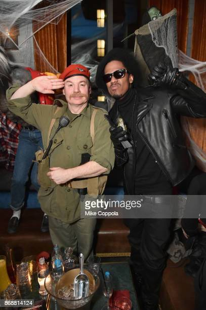 Mike Myers and Nick Cannon attend Heidi Klum's 18th Annual Halloween Party presented by Party City and SVEDKA Vodka at Magic Hour Rooftop Bar Lounge...