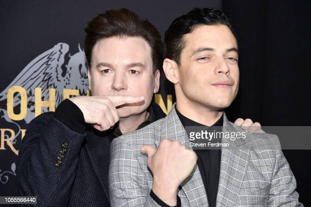 Mike Myers and Rami Malek attend Bohemian Rhapsody New York Premiere at The Paris Theatre on October 30 2018 in New York City