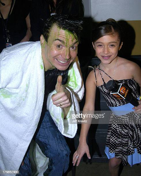 Mike Myers and Raquel Castro during Nickelodeon's 17th Annual Kids' Choice Awards Backstage at Pauley Pavillion in Westwood California United States