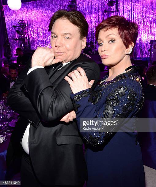 Mike Myers and Sharon Osbourne attend the 23rd Annual Elton John AIDS Foundation Academy Awards Viewing Party on February 22 2015 in Los Angeles...