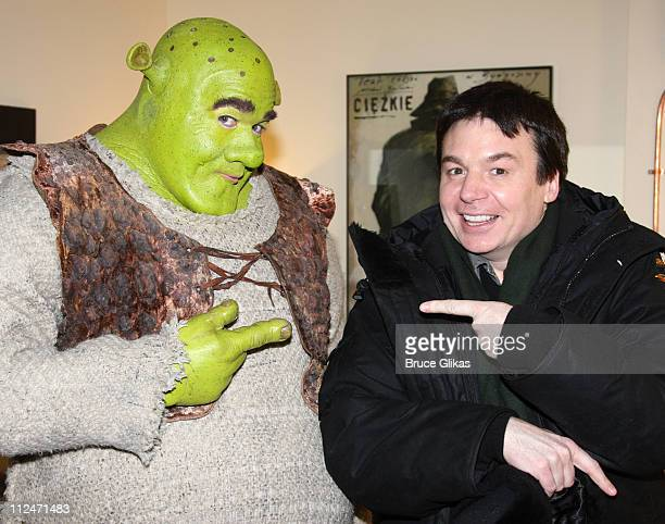 """Mike Myers visits Brian d'Arcy James as """"Shrek"""" backstage at """"Shrek the Musical"""" on Broadway at the Broadway Theatre on January 16, 2009 in New York..."""