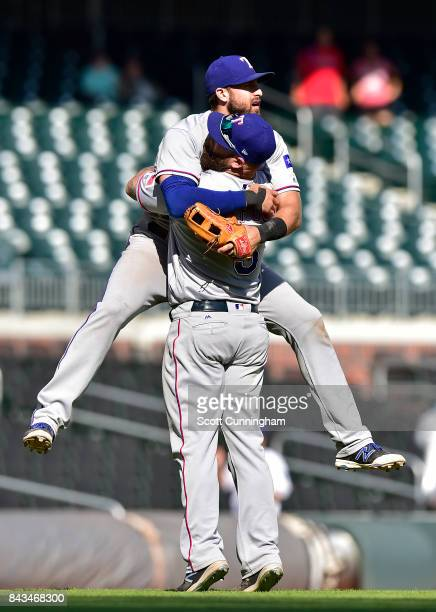 Mike Napoli and Joey Gallo of the Texas Rangers celebrate after the game against the Atlanta Braves at SunTrust Park on September 6 2017 in Atlanta...