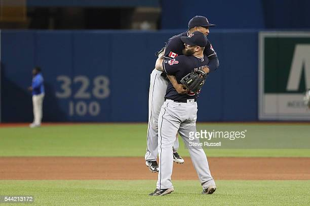 TORONTO ON JULY 1 Mike Napoli hugs Cleveland Indians shortstop Francisco Lindor at the end of the game as the Toronto Blue Jays lose the Cleveland...