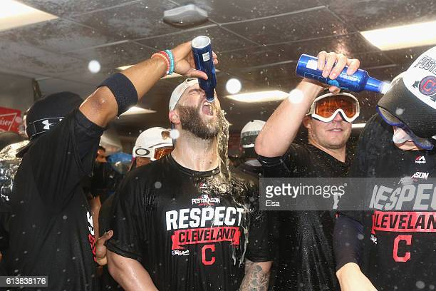Mike Napoli of the Cleveland Indians celebrates after defeating the Boston Red Sox 43 in game three of the American League Divison Series to advance...
