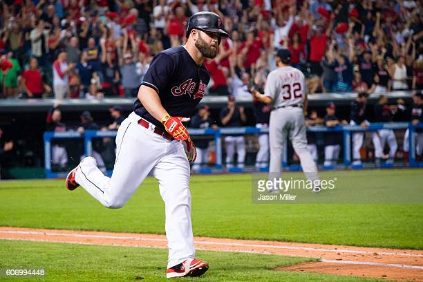 Mike Napoli of the Cleveland Indians rounds the bases after hitting a two run home run off starting pitcher Michael Fulmer of the Detroit Tigers...