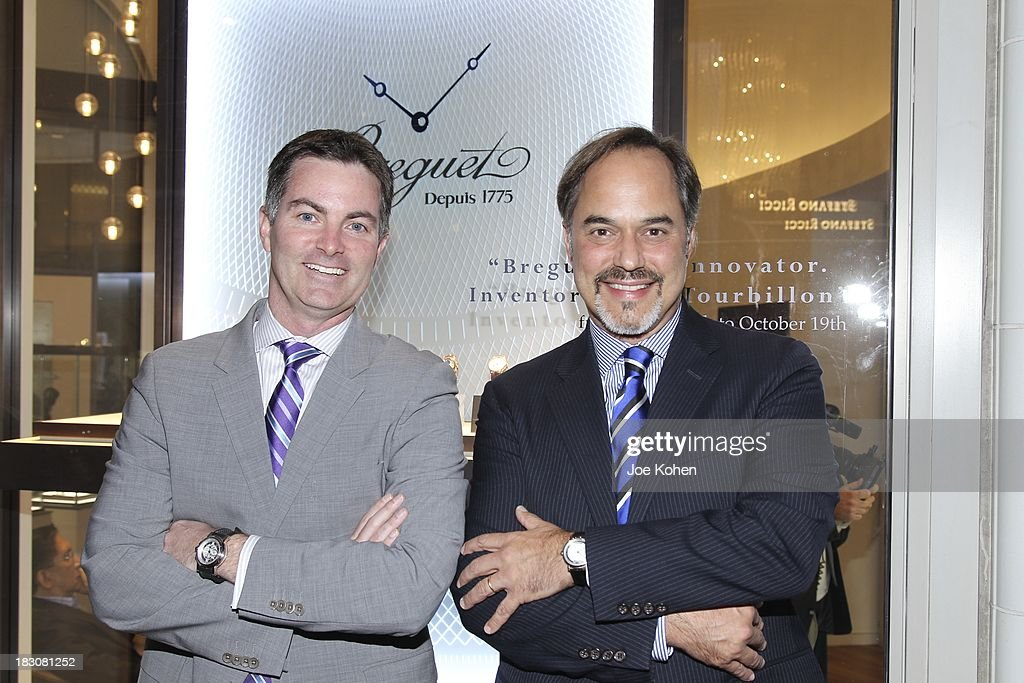 Mike Nelson brand Manager Breguet U.S (L) and Frank Furlan President Swatch Group U.S attends 'Breguet The Innovator. Inventor Of The Tourbillion' Global traveling exhibition at Breguet Boutique on October 3, 2013 in Beverly Hills, California.
