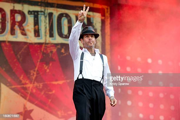 Mike Ness of Social Distortion performs onstage during the 10th annual Rock En Seine Festival at the Domaine National de SaintCloud park on August 26...