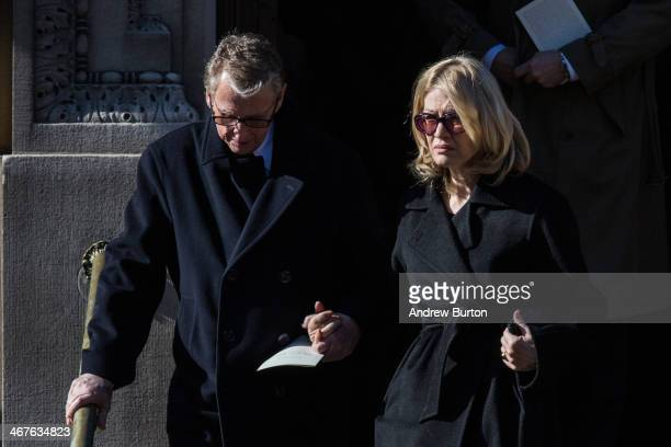 Mike Nichols and Diane Sawyer attend the funeral service for actor Philip Seymour Hoffman who died of an alleged drug overdose on February 1 2014 at...