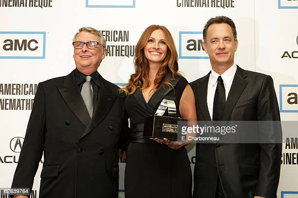 Mike Nichols Julia Roberts and Tom Hanks at The 22nd Annual American Cinematheque Award at the Beverly Hilton Hotel on October 12 2007 in Beverly...