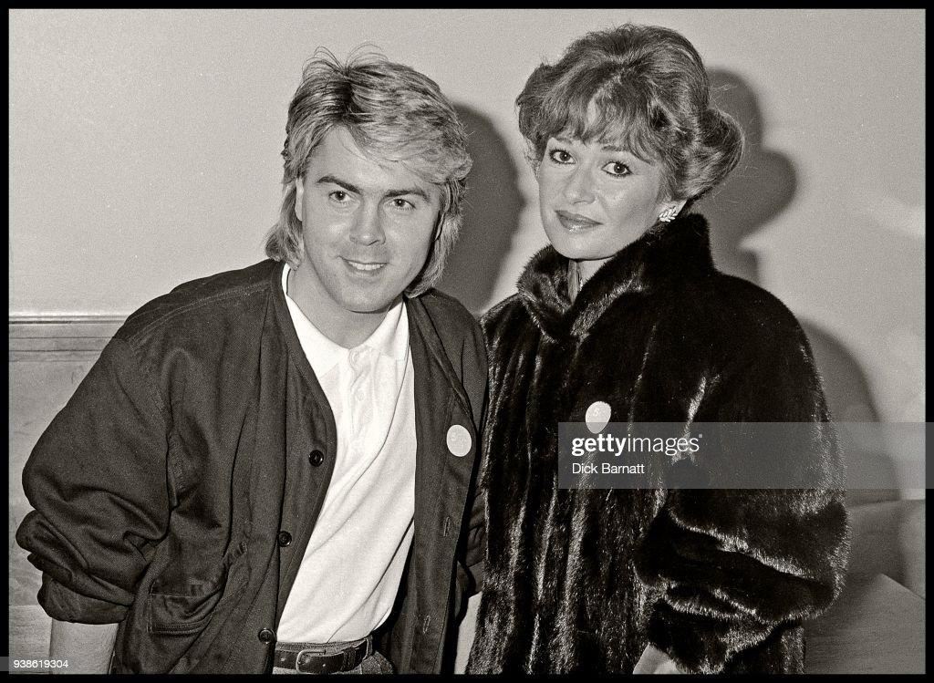 Mike Nolan of Bucks Fizz with actress Stephanie Beacham, circa 1985.