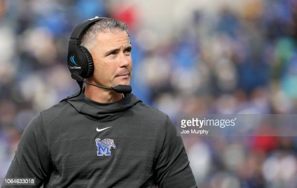 Mike Norvell head coach of the Memphis Tigers looks on against the Houston Cougars during the 1st half on November 23 2018 at Liberty Bowl Memorial...