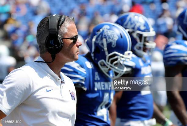 Mike Norvell head coach of the Memphis Tigers looks on against the Southern Jaguars on September 7 2019 at Liberty Bowl Memorial Stadium in Memphis...