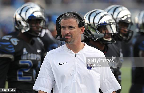 Mike Norvell head coach of the Memphis Tigers looks on against the Houston Cougars on November 25 2016 at Liberty Bowl Memorial Stadium in Memphis...