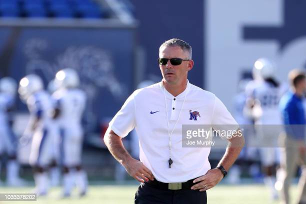 Mike Norvell head coach of the Memphis Tigers looks on before a game against the Georgia State Panthers on September 14 2018 at Liberty Bowl Memorial...
