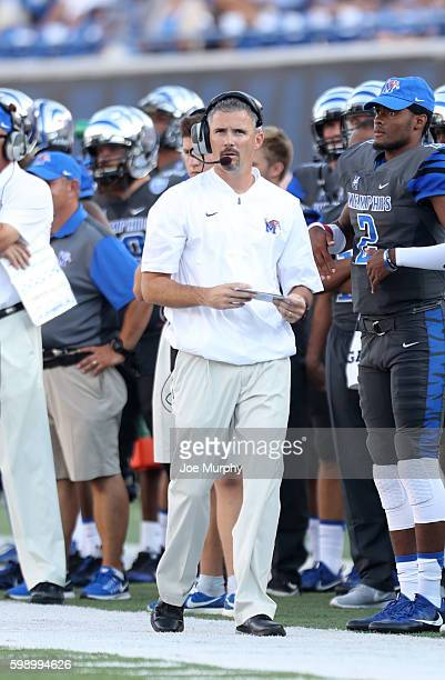 Mike Norvell head coach of the Memphis Tigers watches the action from the sideline against the Southeast Missouri Redhawks r on September 3 2016 at...