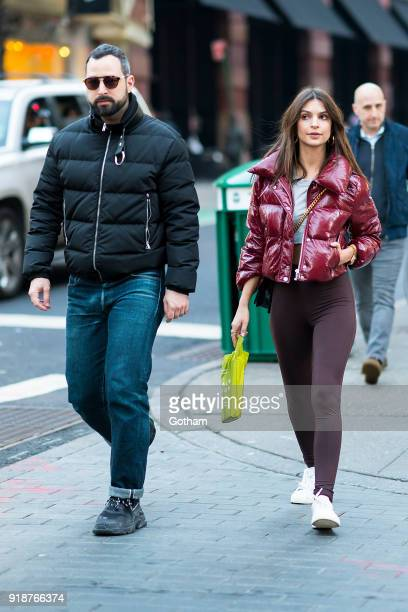 Mike Nouveau and Emily Ratajkowski are seen in SoHo on February 15 2018 in New York City