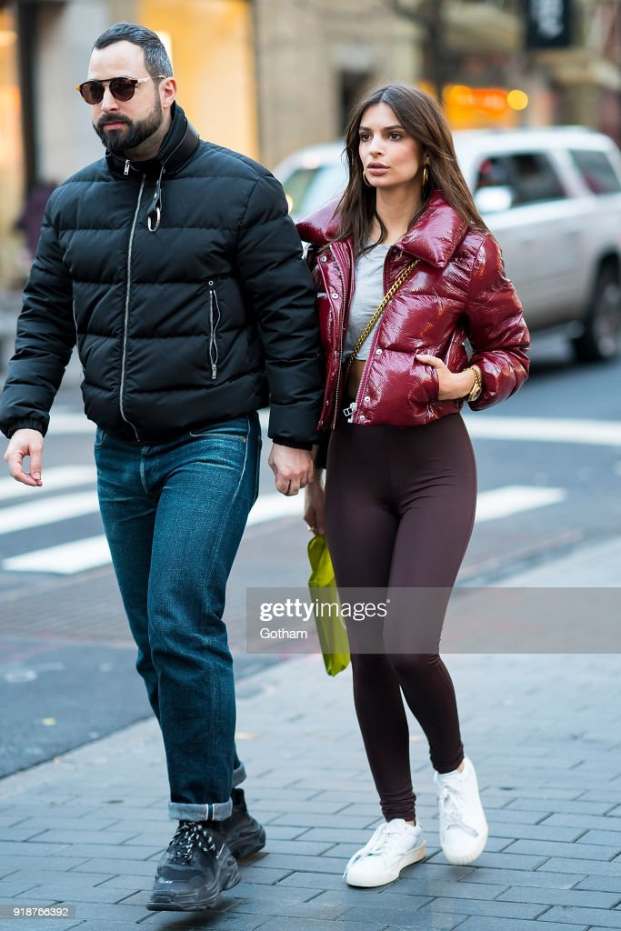 Mike Nouveau (L) and Emily Ratajkowski are seen in SoHo on February 15, 2018 in New York City.