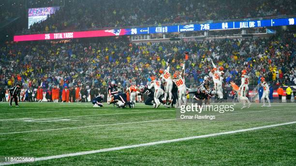 Mike Nugent of the New England Patriots kicks a field goal during the fourth quarter of the game against the Cleveland Browns at Gillette Stadium on...