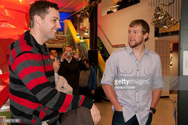 Mike O'Hara visits with Drew Storen relief pitcher for the Washington Nationals at the MLB Fan Cave located on Broadway and 4th Street on May 18 2011...