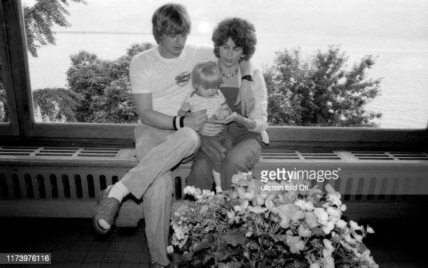 Mike Oldfield British musician with his wife Sally Cooper and child Montreux 1981