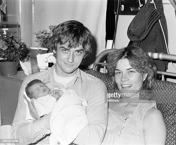 Mike Oldfield musician and composer pictured with newborn baby daughter Molly and partner Sally Cooper 3rd December 1979