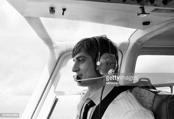 Mike Oldfield musician and composer pilots helicopter from Blackfriars London to his home in Denham Bucks after receiving the Freedom of the City of...