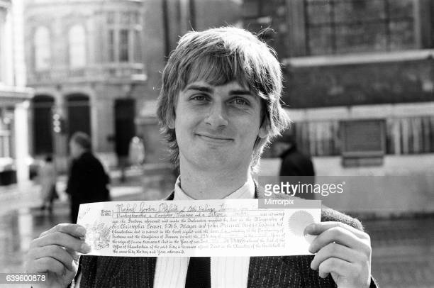 Mike Oldfield musician and composer receives the Freedom of the City of London 17th March 1982