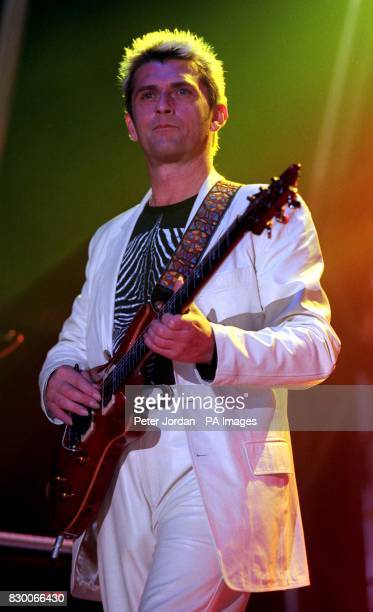 Mike Oldfield performing during the launch of his Tubular Bells 3 album at Horse Guards Parade in London this evening Photo by Peter Jordan/PA