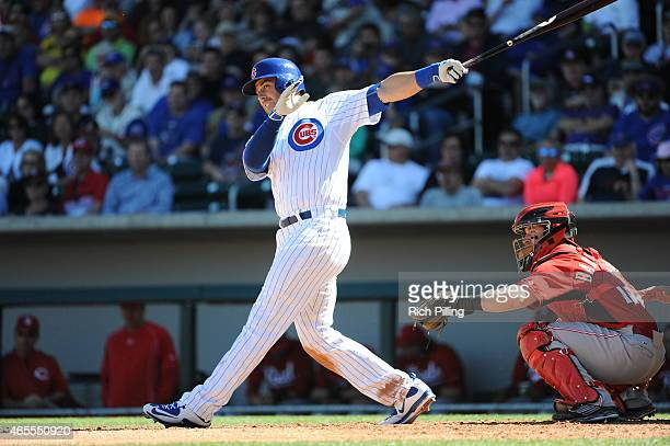 Mike Olt of the Chicago Cubs bats during the game against the Cincinnati Reds on March 6 2015 at Sloan Park in Mesa Arizona The Reds defeated the...