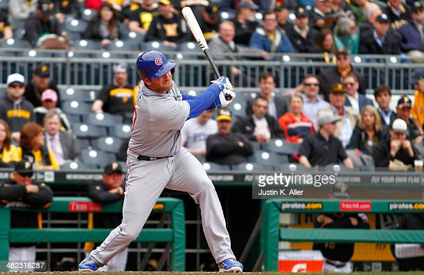 Mike Olt of the Chicago Cubs hits a solo home run in the second inning against the Pittsburgh Pirates during the game at PNC Park April 3 2014 in...