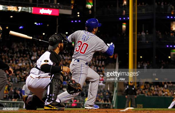 Mike Olt of the Chicago Cubs plays against the Pittsburgh Pirates during the game at PNC Park April 2 2014 in Pittsburgh Pennsylvania