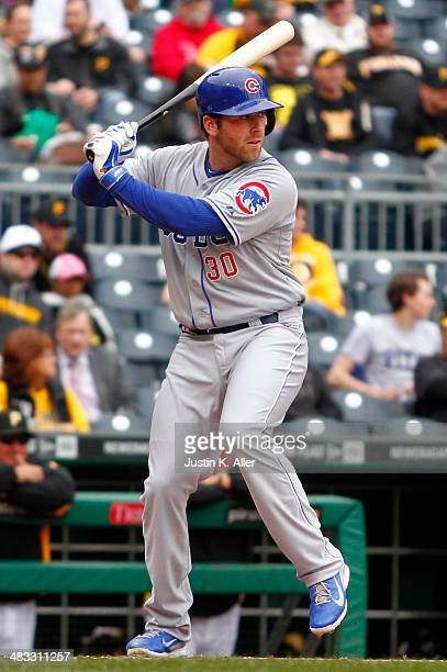 Mike Olt of the Chicago Cubs plays against the Pittsburgh Pirates during the game at PNC Park April 3 2014 in Pittsburgh Pennsylvania
