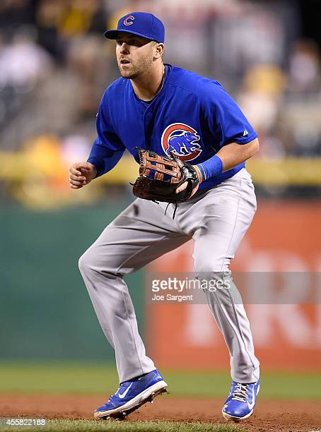 Mike Olt of the Chicago Cubs stands ready at first base during the game against the Pittsburgh Pirates on September 13 2014 at PNC Park in Pittsburgh...